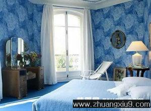 蓝色温馨中户型卧室实景图图片