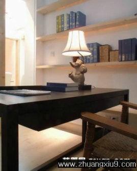 亚太室内设计大户型书房实景图暖色工作台