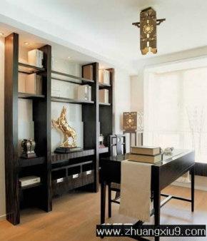亚太室内设计古典中式书房实景图暖色工作台
