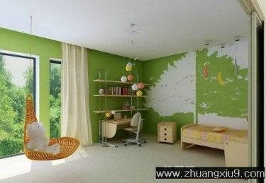 可爱大户型儿童房效果图装饰墙_儿童房装修效果图_第