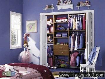 儿童房装修图片紫色可爱美式大户型冷色衣柜