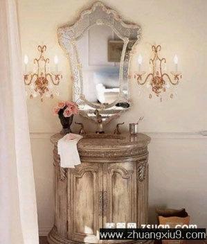 古典欧式卫生间实景图洗手池_卫浴装修效果图_第九