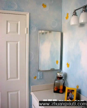装修设计图片之卫浴装修图片:可爱卫生间实景图装饰墙,卫生间