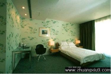 家庭室内装修设计图片之卧室装修图片:清新卧室壁纸装修实