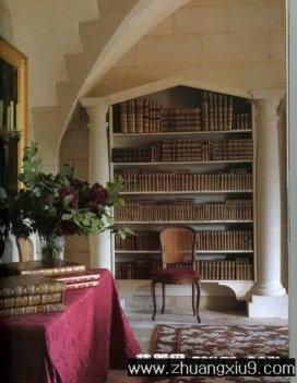 古典欧式书房实景图书架