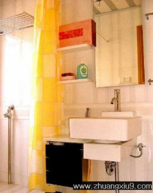 装修设计图片之卫浴装修图片:现代中式中户型卫生间实景图暖