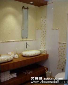 家庭室内装修设计图片之卫浴装修图片:温馨卫生间实景图洗手高清图片