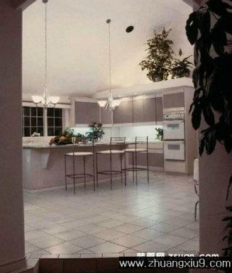 家庭室内装修设计图片之厨房装修图片:灰色简约大户型厨房