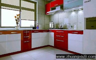 现代中式大户型厨房实景图暖色橱柜_厨房装修效果图