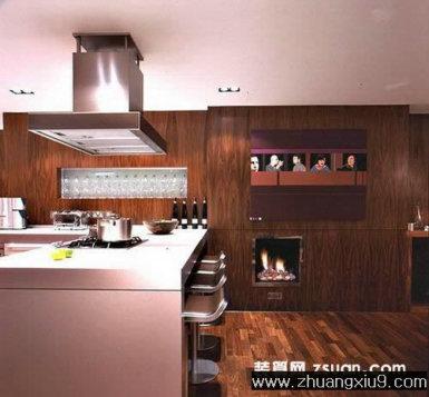 设计图片之厨房装修图片:现代欧式厨房实景图吧台,厨房装修实