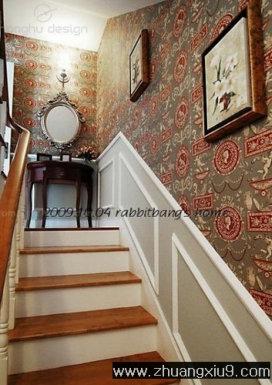 第九装修网 装修知识 装修效果图 楼梯图片 美式走廊楼梯实景图  美式