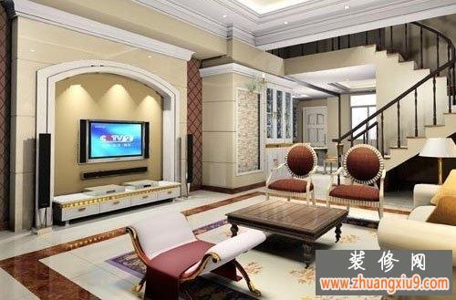 二高層復式樓客廳裝修效果圖