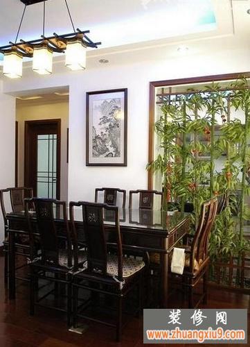 中式复古餐厅装修效果图高清图片