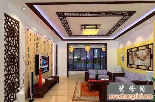 复古中式电视背景墙2013彰显现代新中式客厅享受