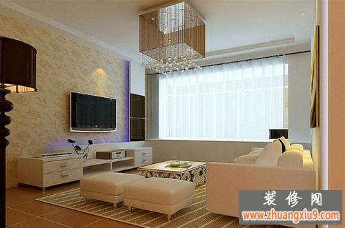 现代简约小客厅电视墙装修图片 简单设计淡雅