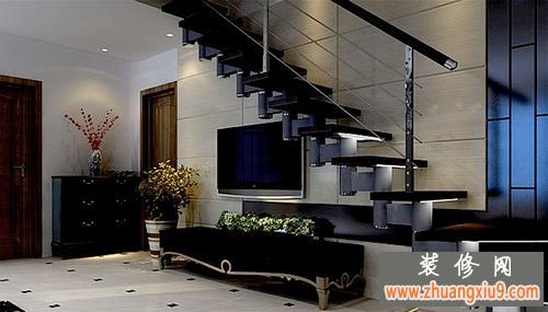 楼梯下的电视背景墙设计欣赏,错层楼梯装修效果图大全最新图