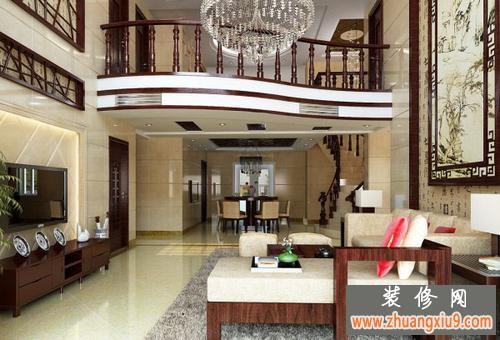 新中式复式楼家居整体装修效果图演绎图片