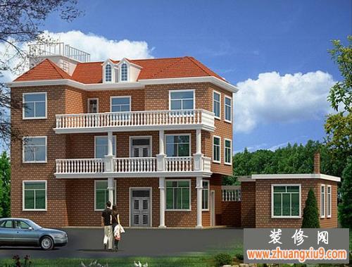 三层半自建房设计图-农村坡屋顶自建别墅效果图 独栋别墅设计3