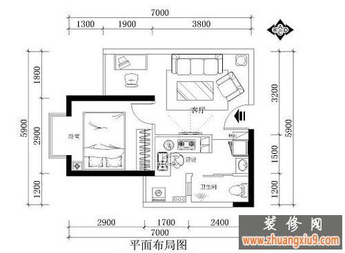 一室一厅小户型装修 4.8万简欧田园混搭小屋