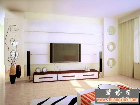 現代簡約式客廳電視背景墻裝修效果圖2016為慶中秋隆重推出44款_電視