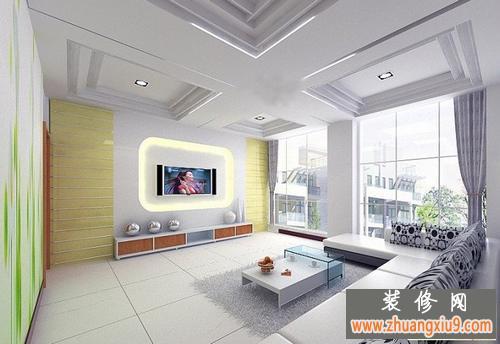 电视背景墙效果图最新的图片大全/strong>配合客厅吊顶的设计阔达亮