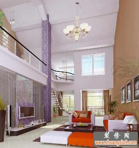 复式楼电视背景墙装修效果图—复式楼客厅背景墙