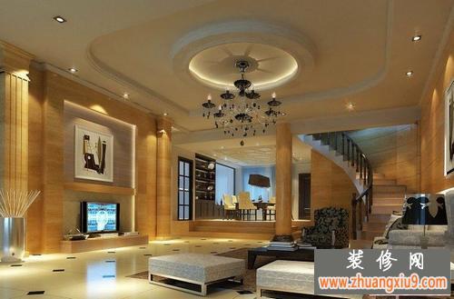 客厅吊顶装修效果图—2012客厅吊顶效果图吊的不是吊灯而是奢华