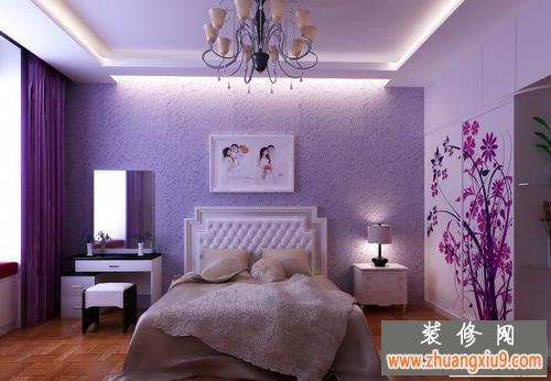 卧室床头背景墙衬出的卧室装修效果图大全2013图片让