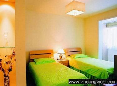 亚太室内设计中式中户型卧室实景图冷色床