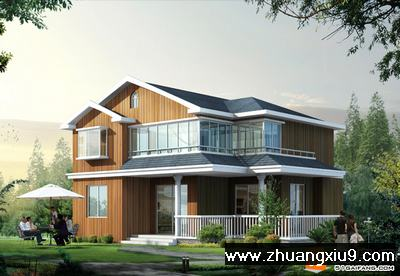 美式木结构乡村别墅设计图
